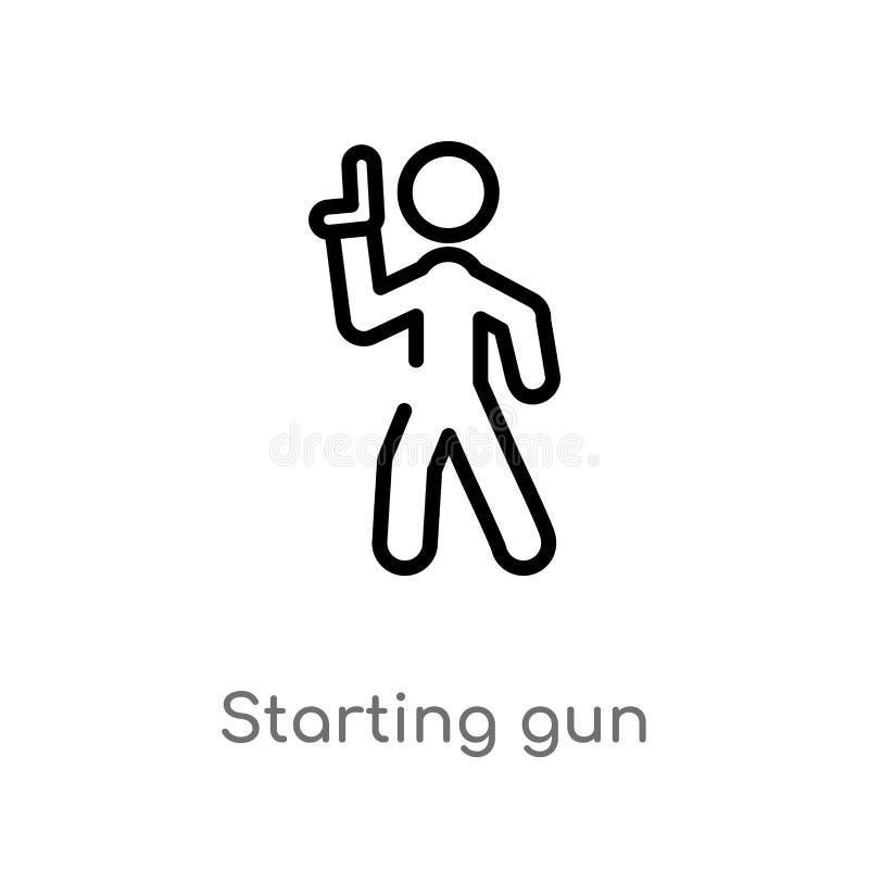 contour commençant l'icône de vecteur d'arme à feu ligne simple noire d'isolement illustration d'élément des sports et de concept illustration libre de droits