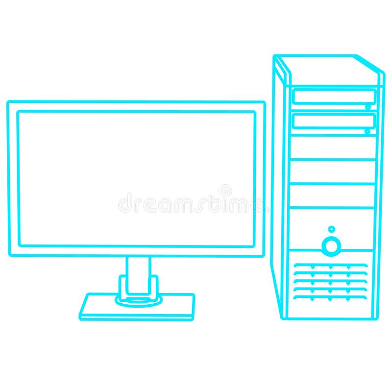 Contour of the computer. Monitor and system unit. Front view. Vector illustration vector illustration
