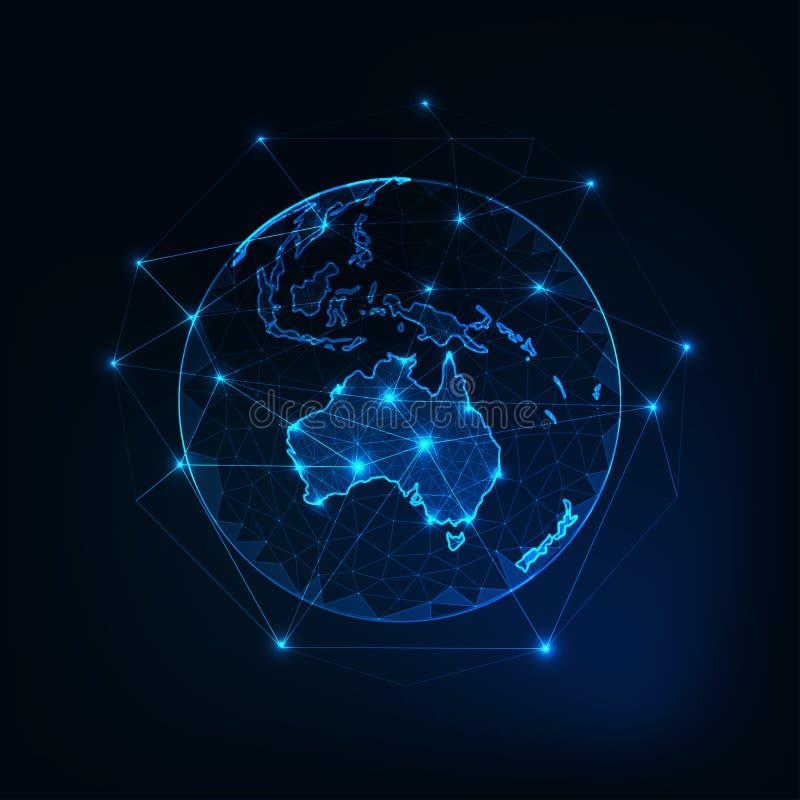 Contour continent de carte d'Australie sur la vue de la terre de planète du fond d'abrégé sur l'espace illustration libre de droits