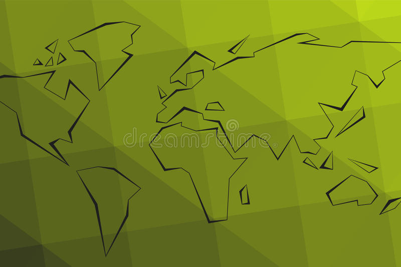 Contour continents. Green triangular lowpoly background. World M stock illustration