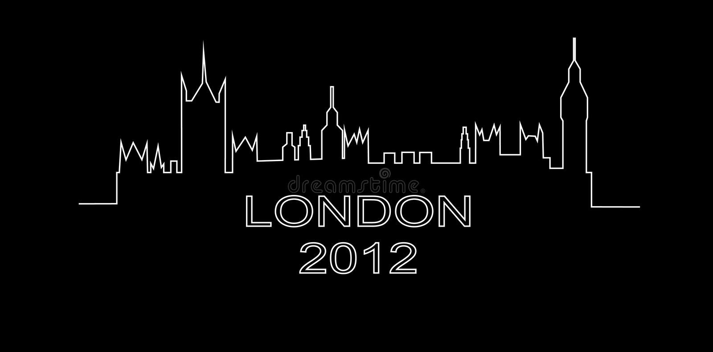 Contour détaillé d'une silhouette de Londres illustration de vecteur