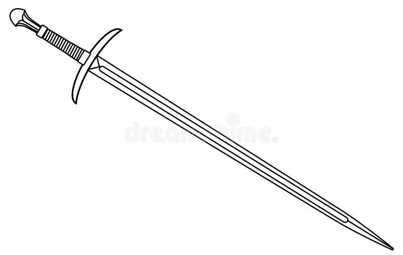 Contour d'épée de chevaliers sur le blanc illustration libre de droits