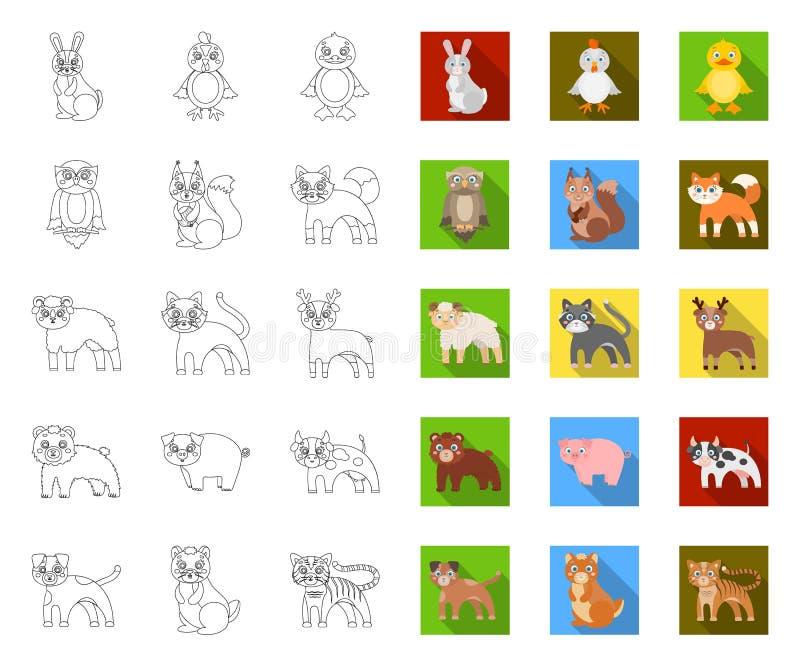 Contour d'animaux de jouet, icônes plates dans la collection réglée pour la conception L'oiseau, le pr?dateur et l'herbivore diri illustration de vecteur