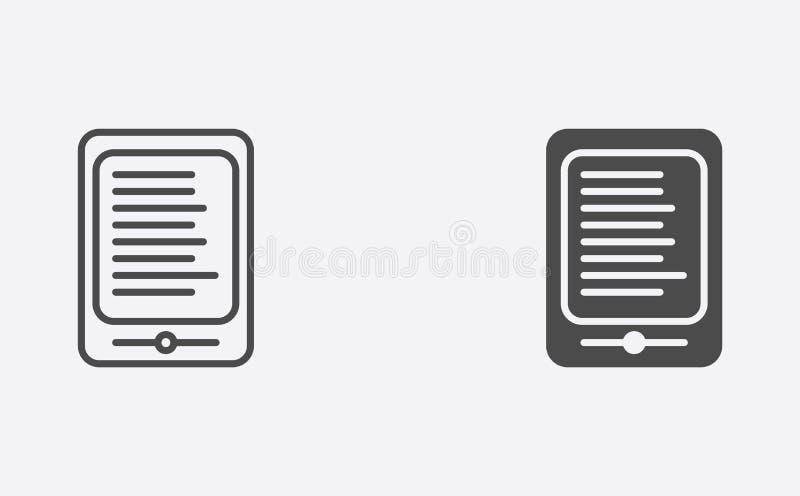 Contour d'Ebook et symbole rempli de signe d'icône de vecteur illustration libre de droits