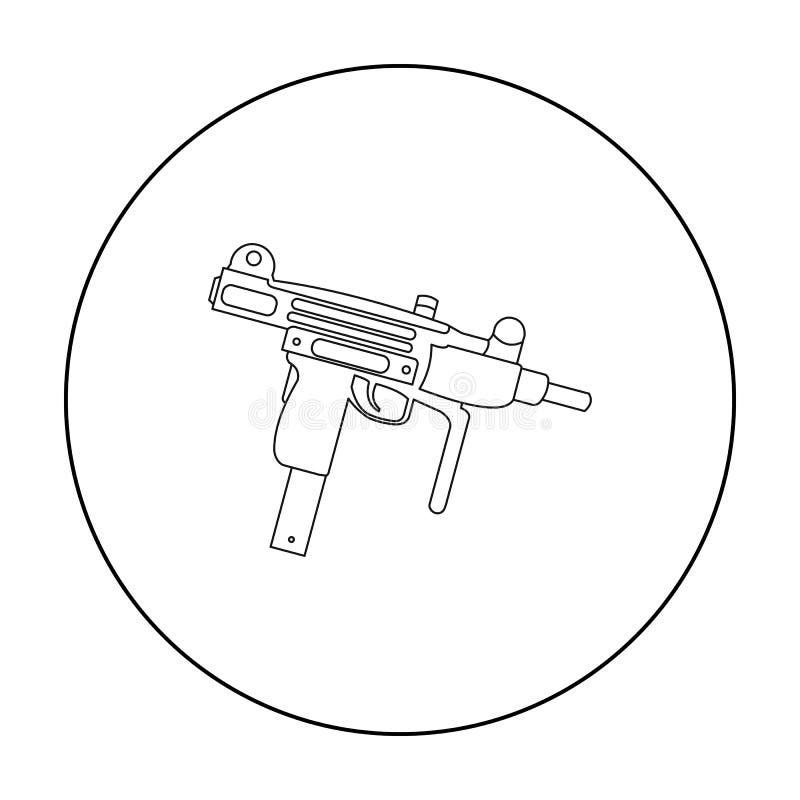 Contour d'icône d'arme d'UZI Icône simple d'arme des grandes munitions, bras réglés illustration de vecteur
