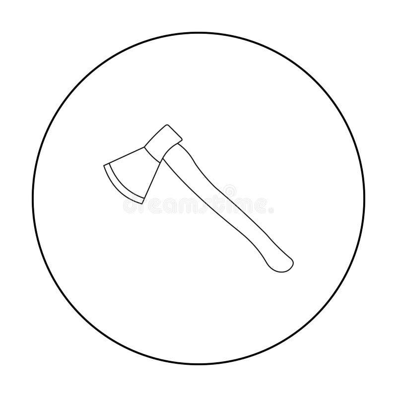 Contour d'icône de hache Icône simple d'arme des grandes munitions, bras réglés illustration de vecteur