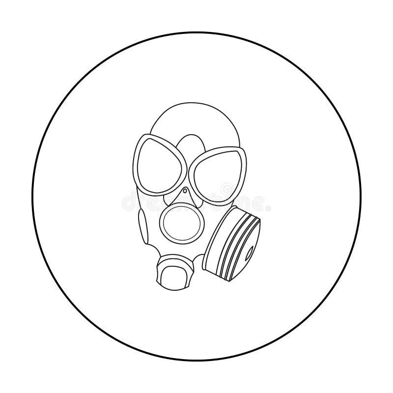 Contour d'icône de masques de gaz Icône simple d'arme des grandes munitions, bras réglés illustration libre de droits