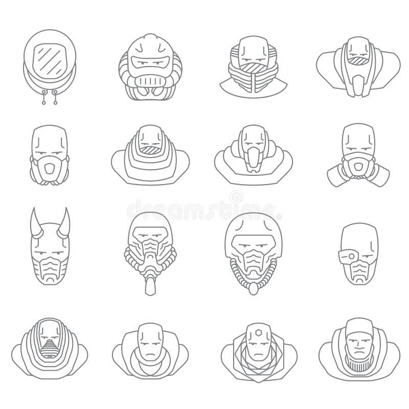 Contour d'icônes de personnes de visage illustration stock
