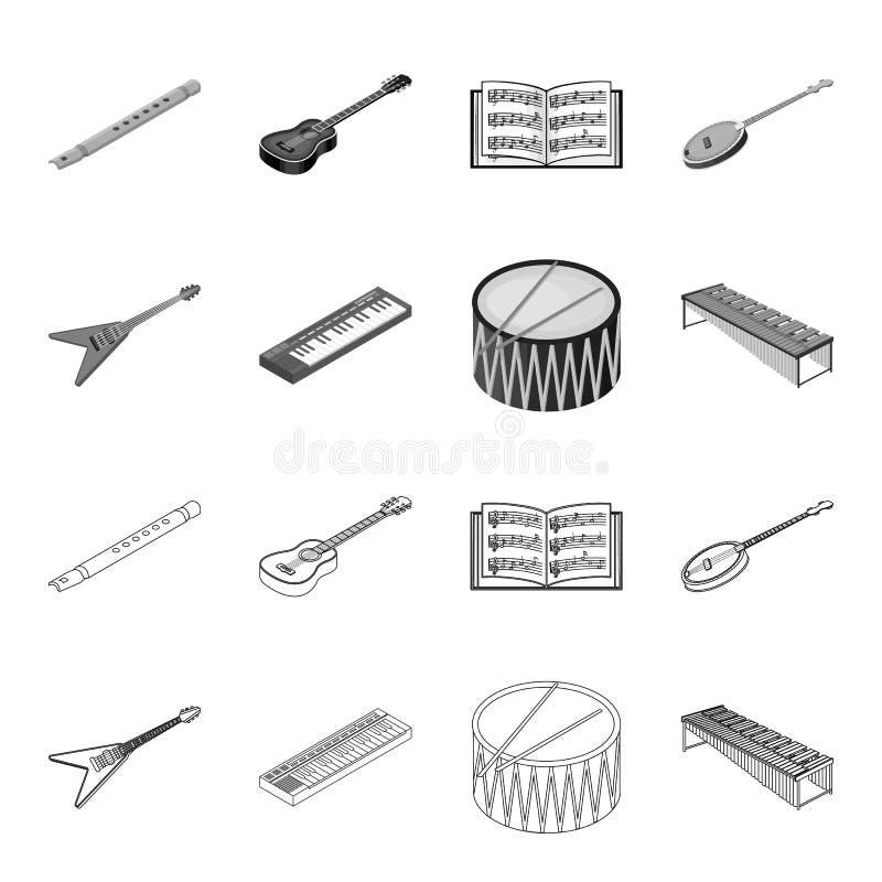 Contour d'instrument de musique, icônes monochromes dans la collection d'ensemble pour la conception Vecteur isométrique d'instru illustration stock