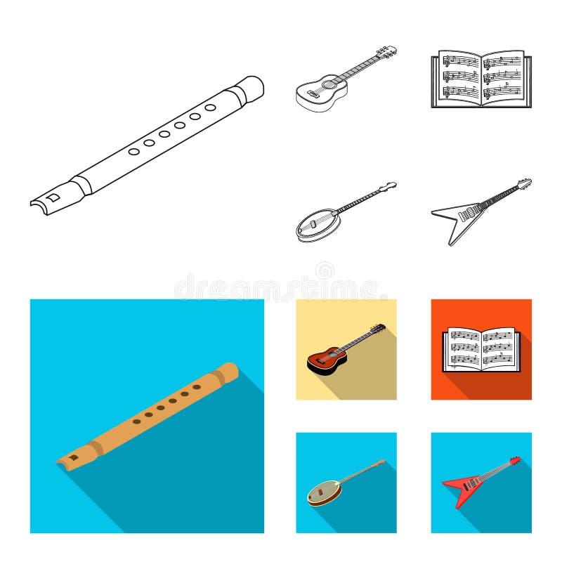 Contour d'instrument de musique, icônes plates dans la collection d'ensemble pour la conception Symbole isométrique de vecteur d' illustration stock