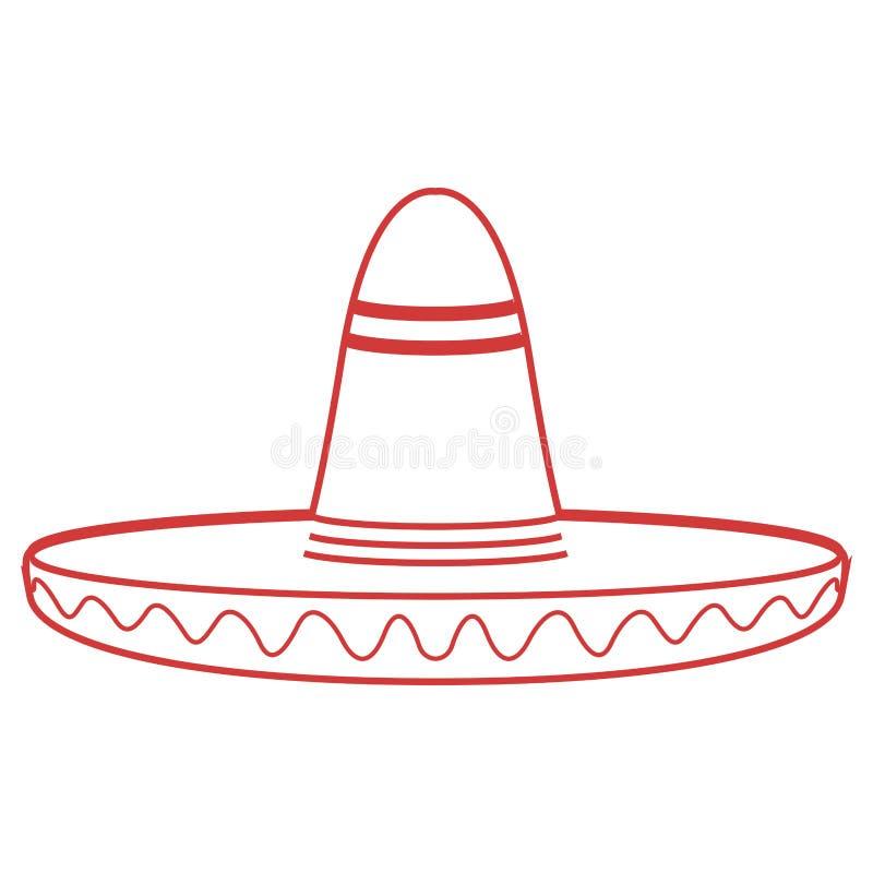 Contour d'isolement d'un chapeau mexicain traditionnel illustration stock
