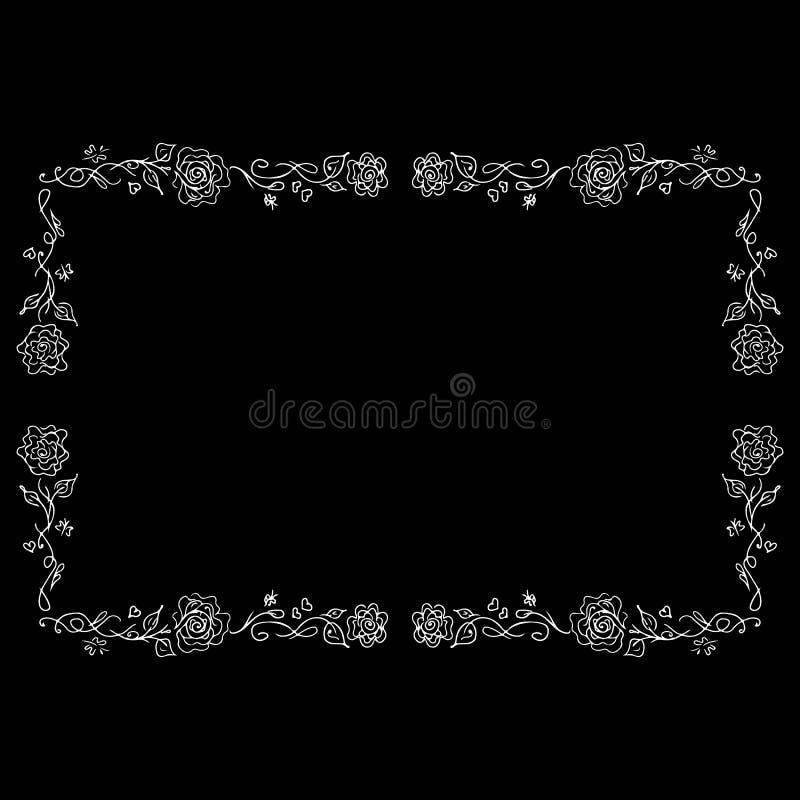 Contour de cadre de Rose dans style de schéma Ensemble d'art de pochoir Dessin floral de d?coupe Croquis de vintage Pochoir de si illustration de vecteur