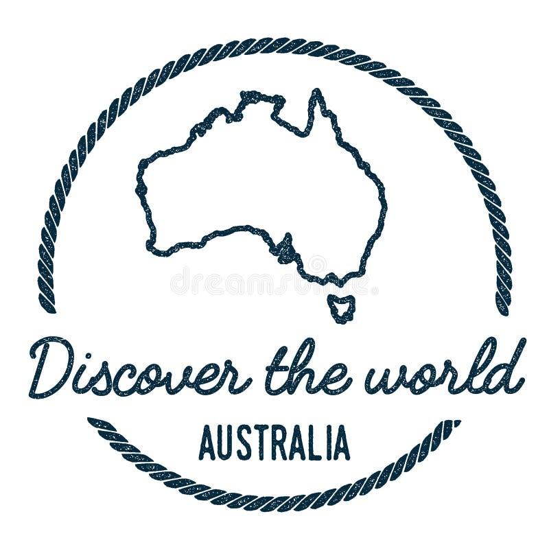 Contour de carte d'Australie Le vintage découvrent le monde illustration de vecteur