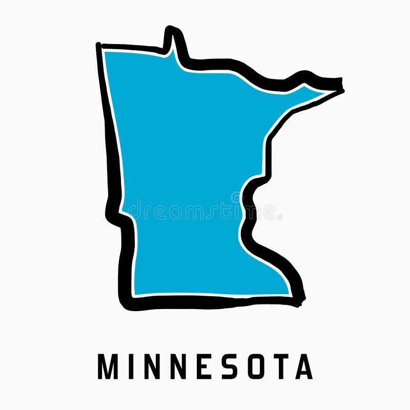 Contour de carte du Minnesota illustration stock