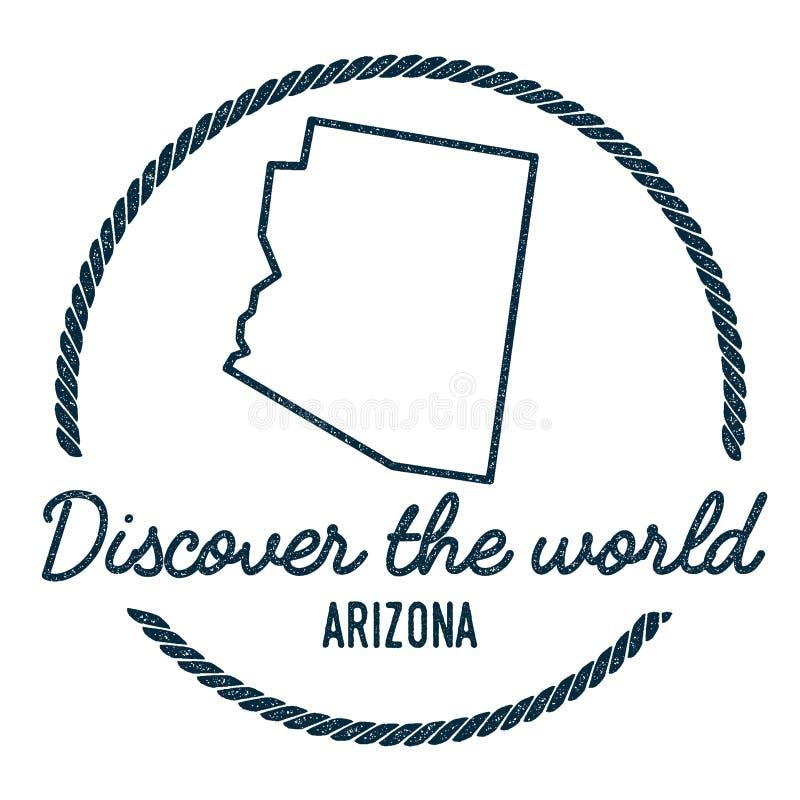 Contour de carte de l'Arizona Le vintage découvrent le monde illustration de vecteur