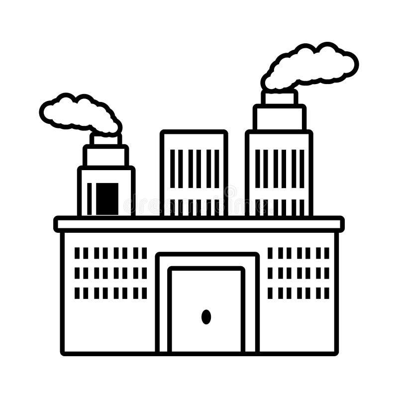 contour de cheminée de pollution de bâtiment de fabrication illustration de vecteur