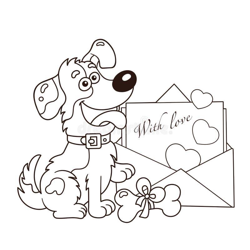 Contour de coloration de page de chien de bande dessinée avec la lettre Carte de voeux Anniversaire Jour du `s de Valentine Livre photographie stock libre de droits