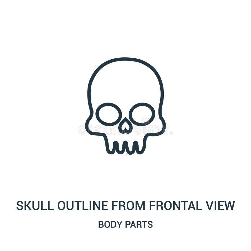 contour de crâne de vecteur frontal d'icône de vue de collection de parties du corps Ligne mince contour de crâne d'icône frontal illustration stock