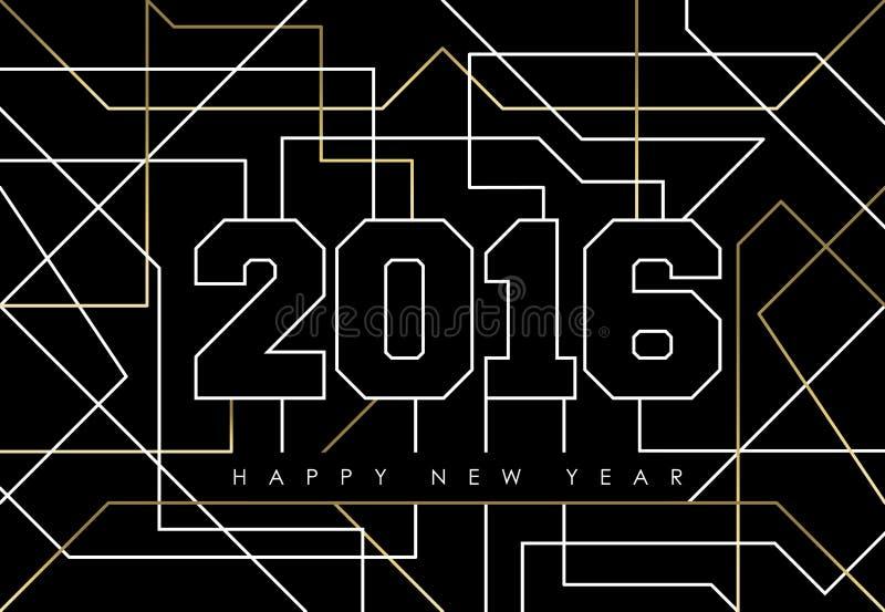 Contour 2016 de deco d'or d'abrégé sur bonne année illustration de vecteur