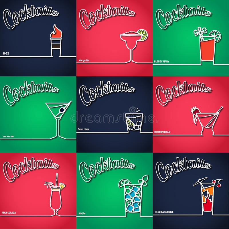 Contour 1 de fond de cocktail illustration stock