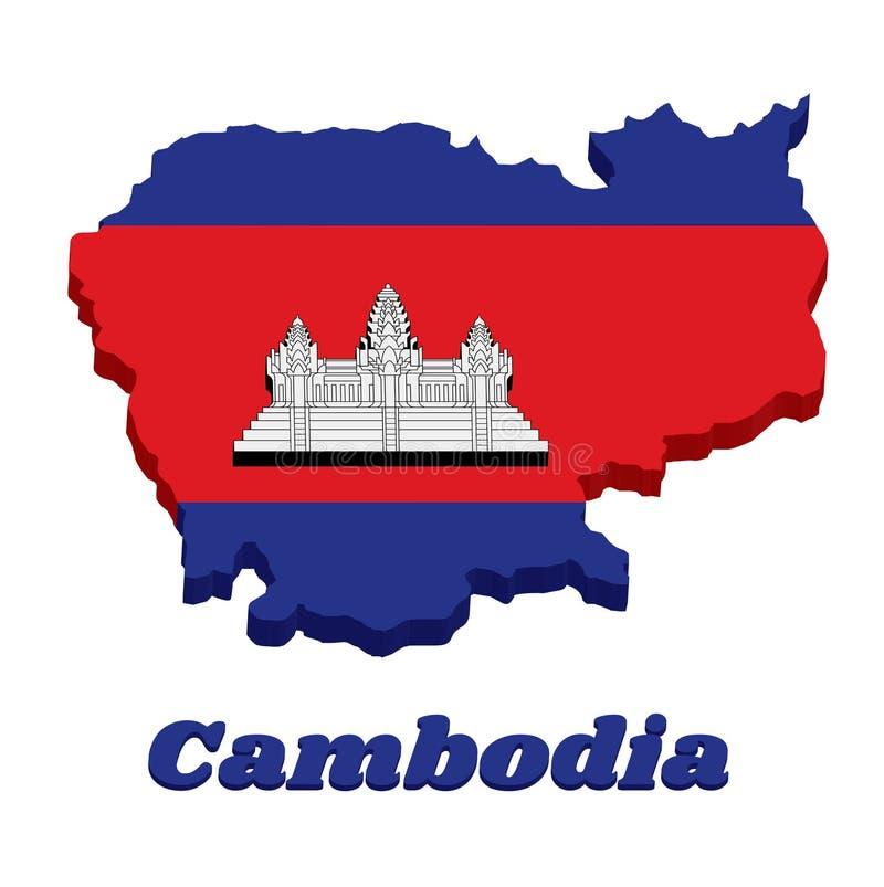 contour de la carte 3D et drapeau de Cambodgien dans la couleur rouge et blanche bleue avec la ligne noire d'Angkor Vat illustration stock