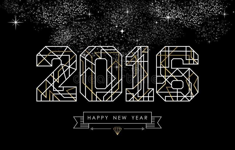 Contour 2016 de la géométrie de deco d'or de bonne année illustration stock