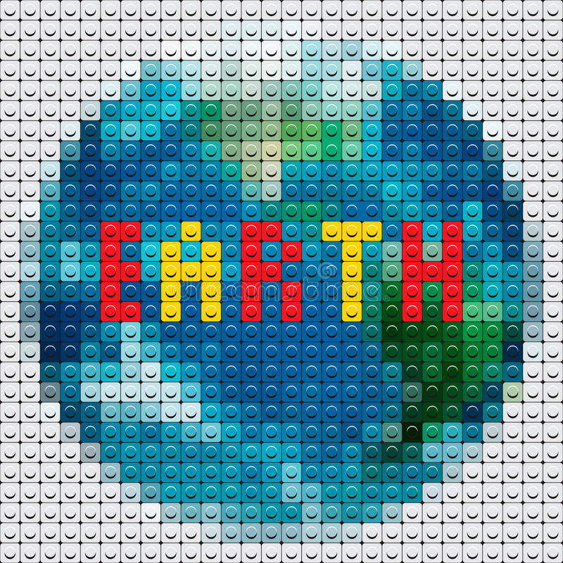 Contour de la terre de planète effectué à partir de la mosaïque illustration stock