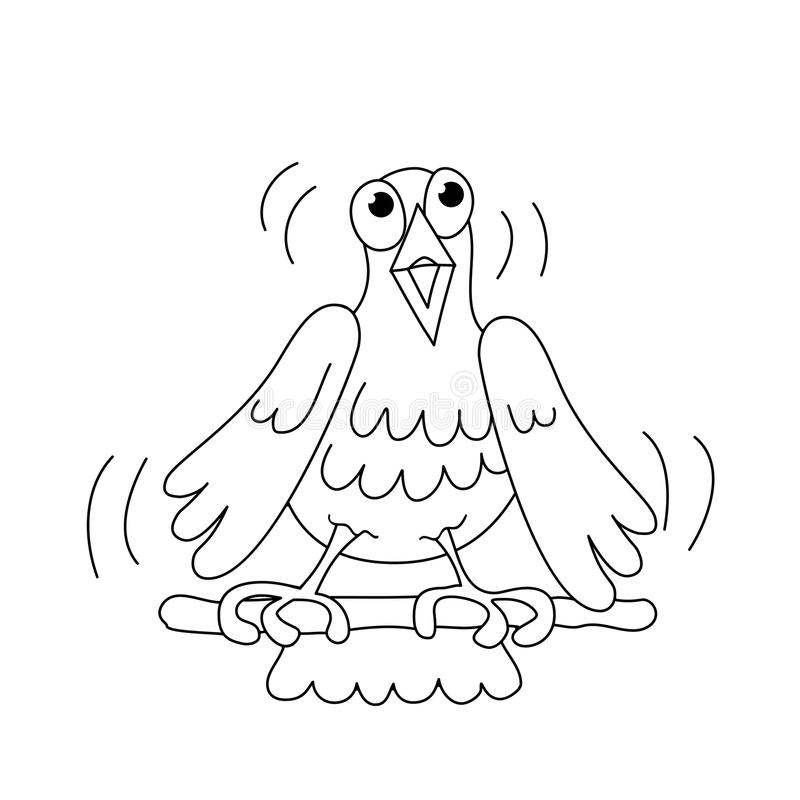 Contour de page de coloration d'oiseau drôle de chant photographie stock