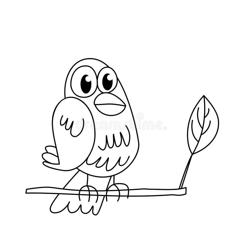 Contour de page de coloration d'oiseau se reposant drôle image stock