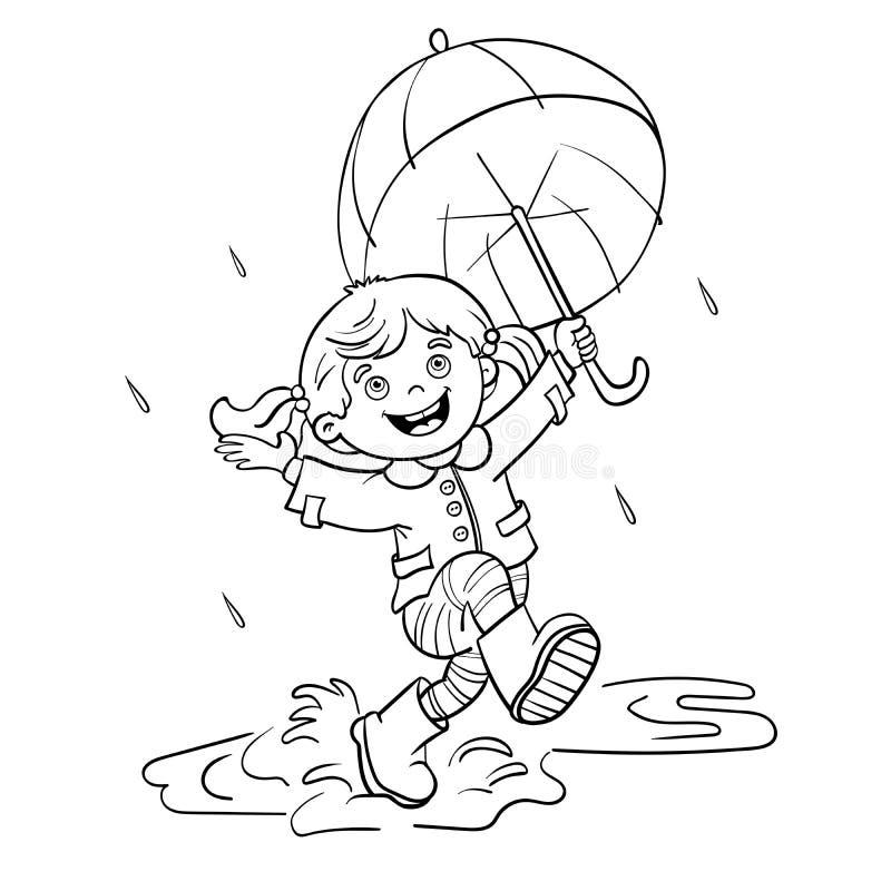 Contour de page de coloration d'une fille sautant sous la pluie image libre de droits