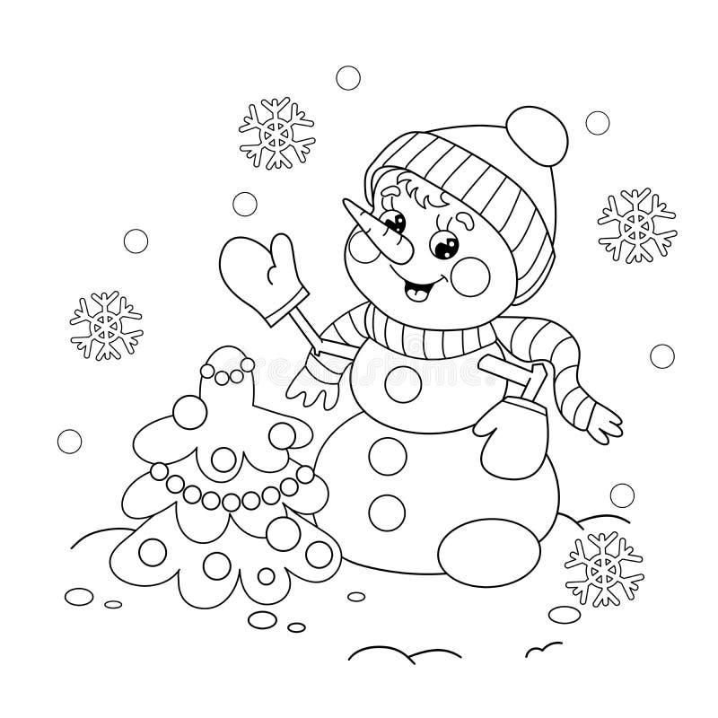 Contour de page de coloration de bonhomme de neige avec l'arbre de Noël image stock
