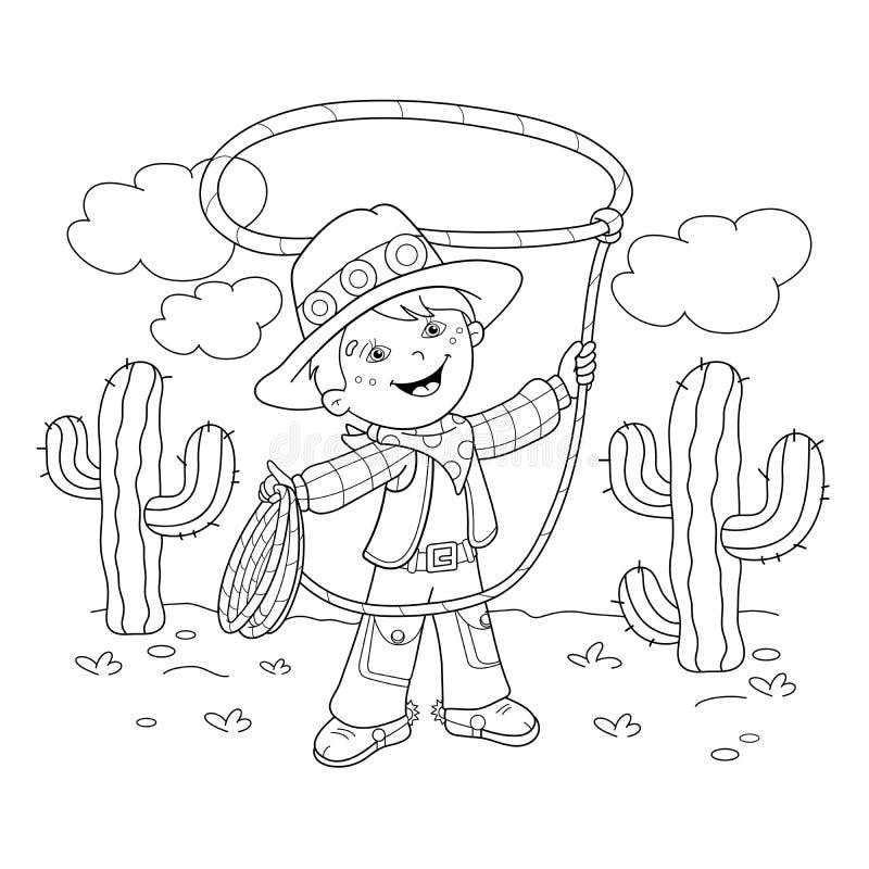 Contour de page de coloration de cowboy de bande dessinée avec le lasso illustration stock