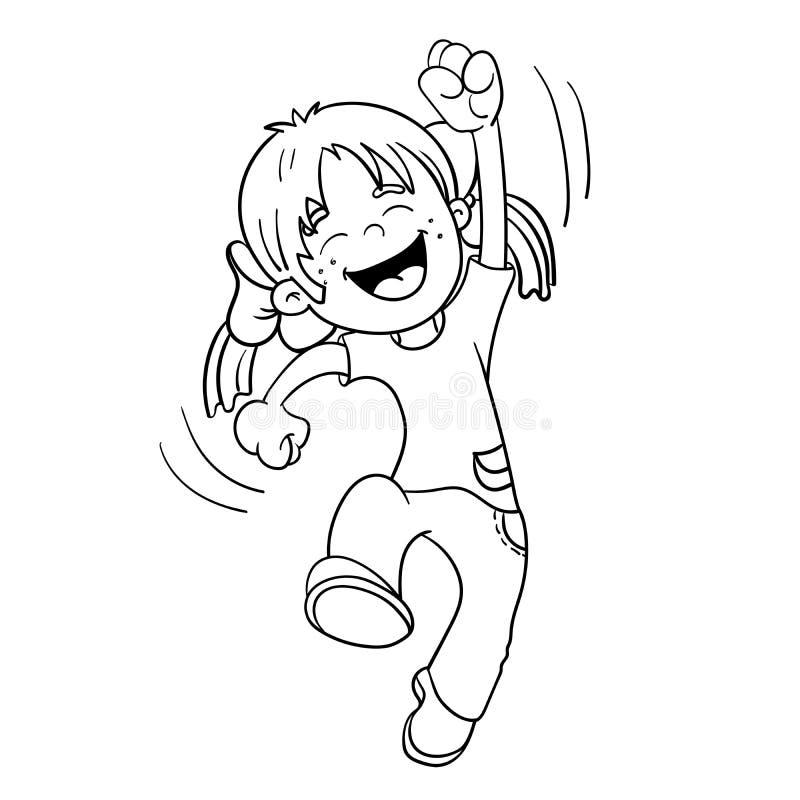 Contour de page de coloration de fille sautante d'A images stock