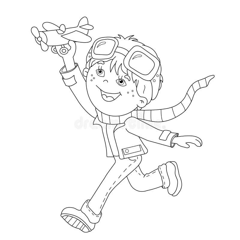 Contour de page de coloration de garçon de bande dessinée avec l'avion de jouet illustration de vecteur