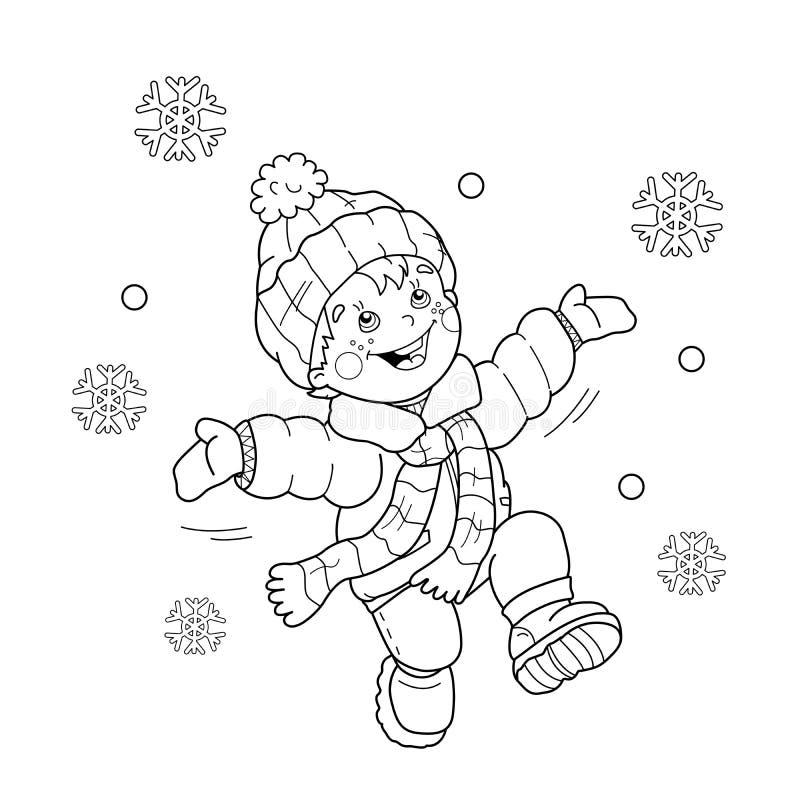 Contour de page de coloration de garçon de bande dessinée sautant pour la joie illustration de vecteur