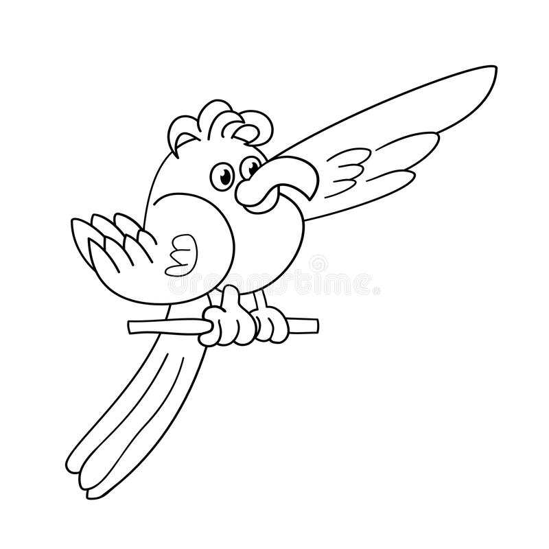 Contour de page de coloration de perroquet drôle photo libre de droits