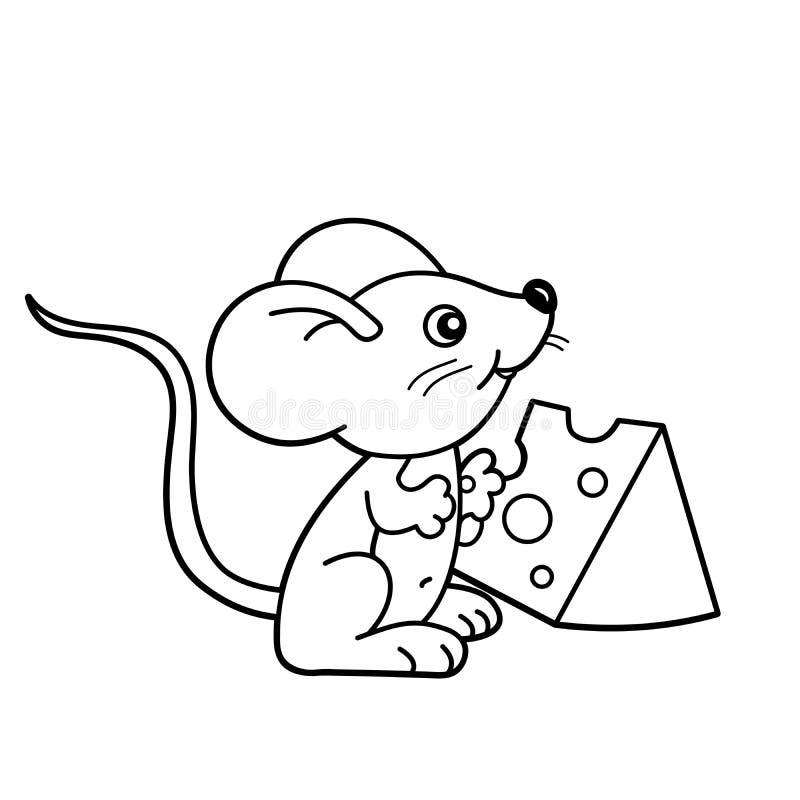 Contour de page de coloration de petite souris de bande dessinée avec du fromage Livre de coloriage pour des enfants illustration de vecteur