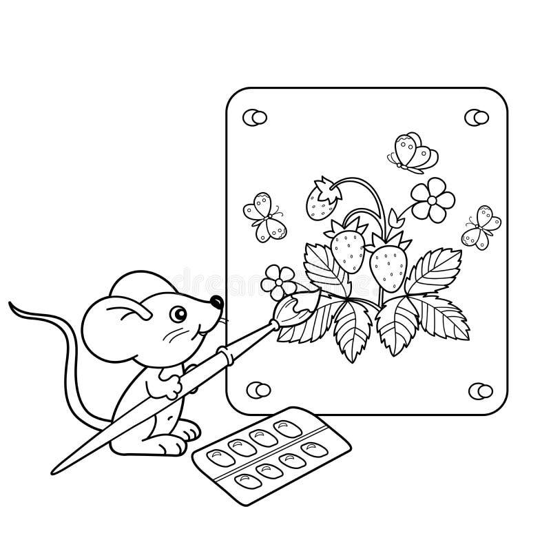 Contour de page de coloration de petite souris de bande dessinée avec la photo de la fraise avec la brosse et les peintures Livre illustration libre de droits