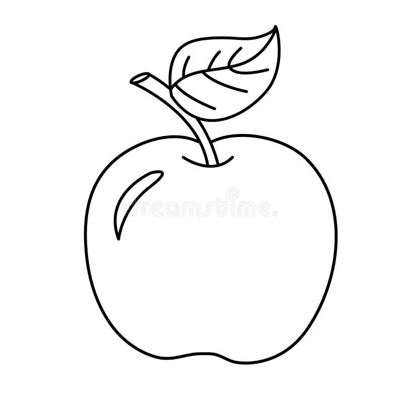 Contour de page de coloration de pomme de bande dessinée Fruits Livre de coloration photos stock