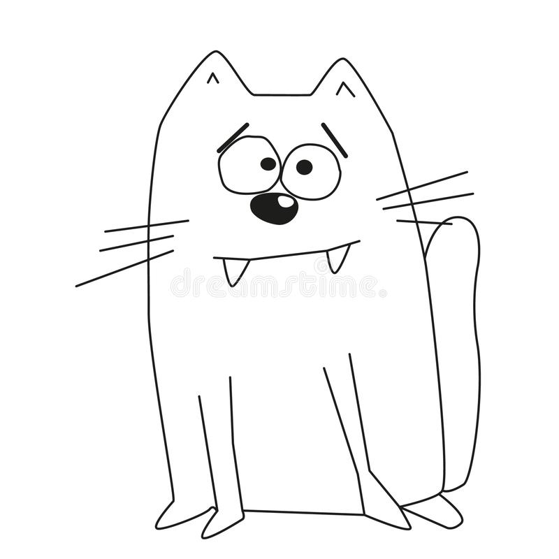 Contour de petit chat mignon avec les sourcils larges illustration libre de droits