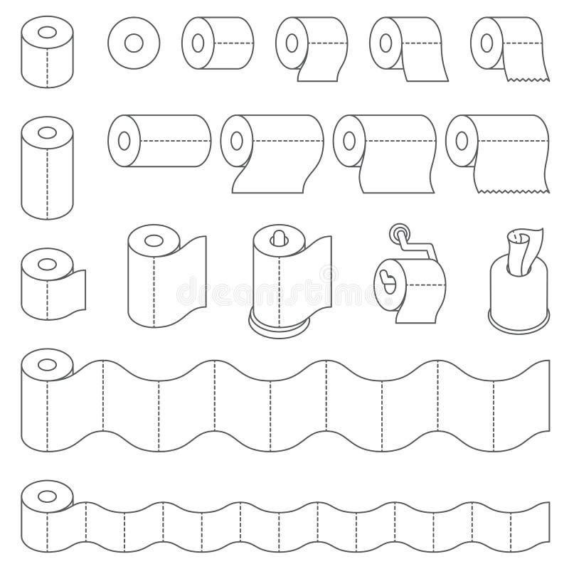 Contour de petit pain de papier hygiénique et de serviette de papier de cuisine gris-foncé illustration stock