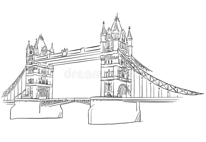 Contour de pont de tour de Londres esquissé illustration stock