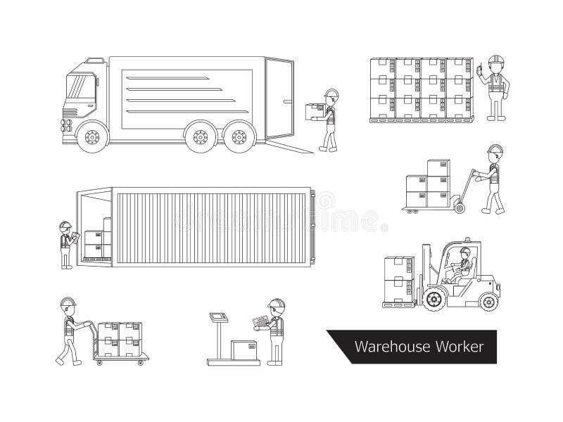 Contour de travailleur d'entrepôt illustration stock