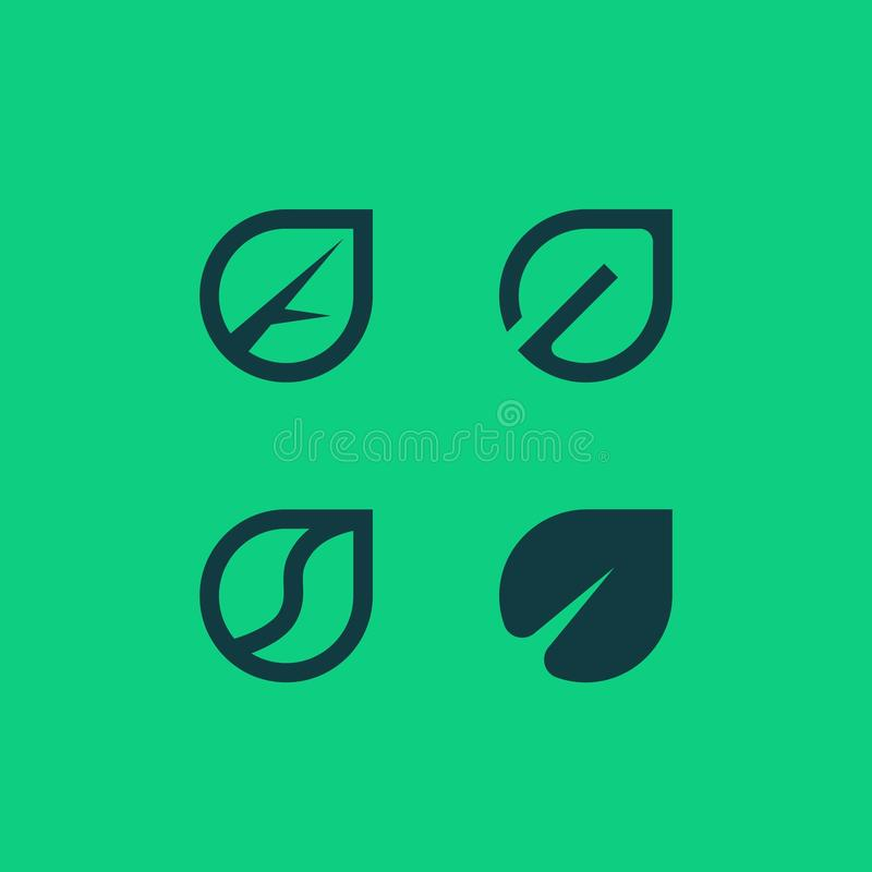 Contour de vecteur et logotypes plats des feuilles Logo vert d'Eco photo stock