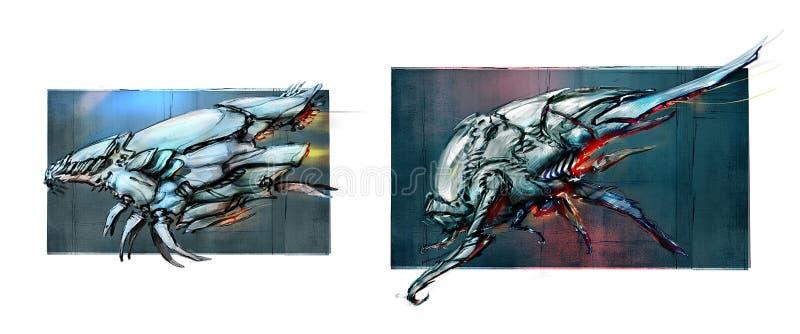 Contour des vaisseaux spatiaux, concepts Peinture de Digitals Les dessins sont isolés sur un fond blanc Aéronefs Navires de guerr illustration stock