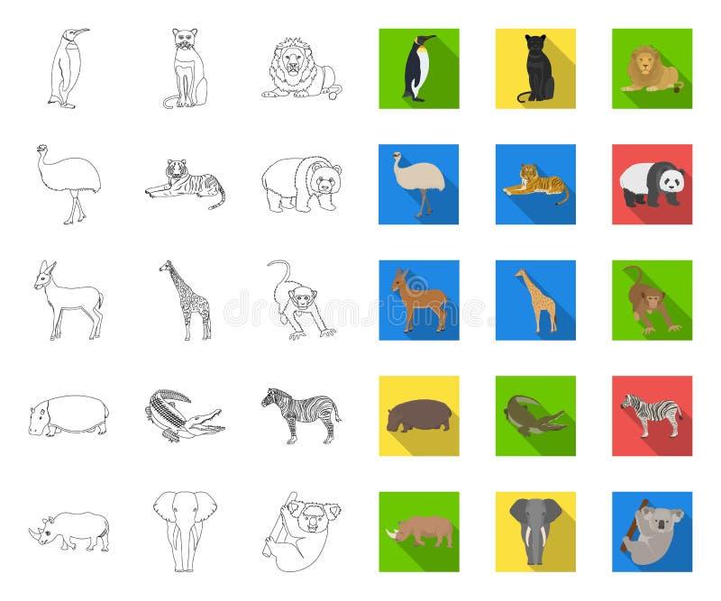 Contour différent d'animaux, icônes plates dans la collection réglée pour la conception L'oiseau, le pr?dateur et l'herbivore dir illustration stock