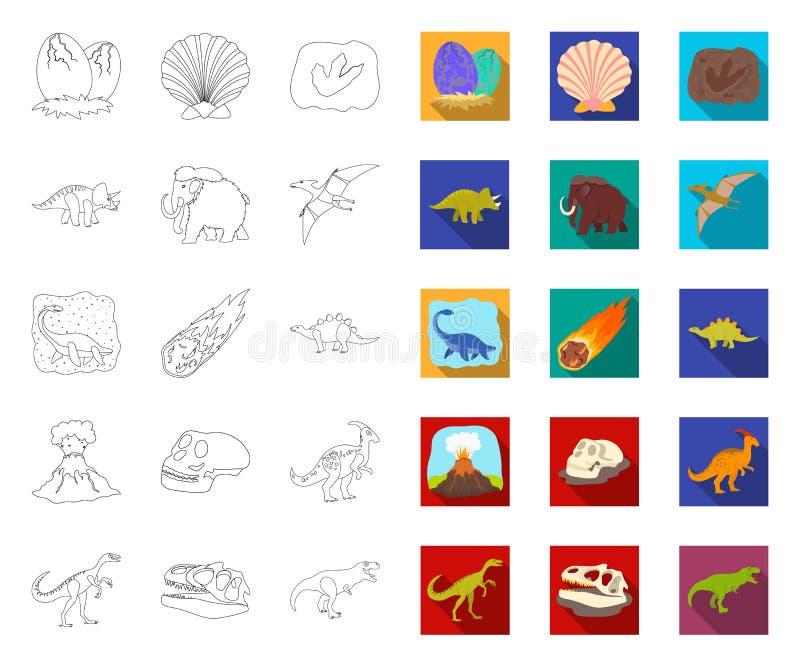 Contour différent de dinosaures, icônes plates dans la collection réglée pour la conception Web animal pr?historique d'actions de illustration de vecteur