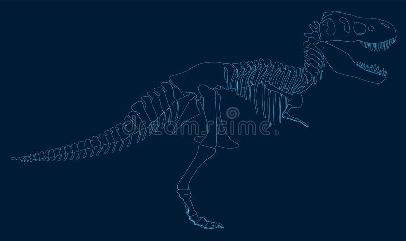 Contour of the dinosaur of the blue lines on a dark background. Side view. Vector illustration royalty free illustration