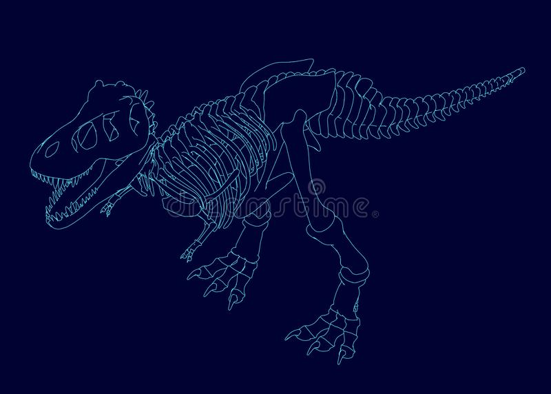 Contour of a dinosaur skeleton. Isometric view. Vector illustration vector illustration