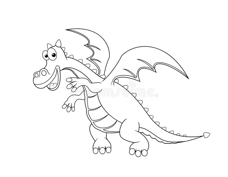 dragon outline in black on a white background - Dragon Outline